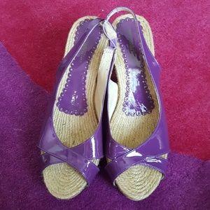 Shoes - Shoes purple wedges size 9.